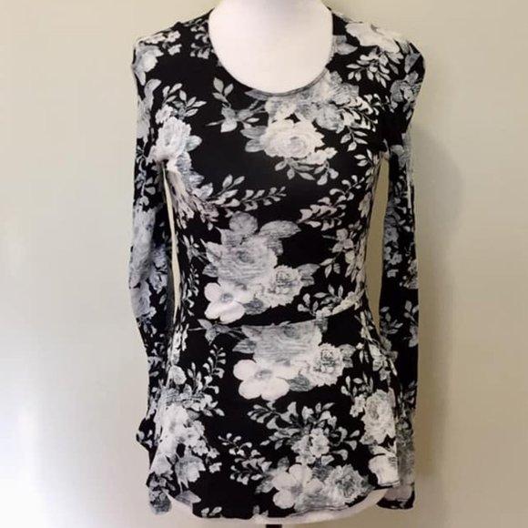 Wilfred 'Fabre' Peplum Black Floral Print Top XS